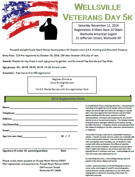 Wellsville veterans day 5k allegany county new york for Nys fishing license cost